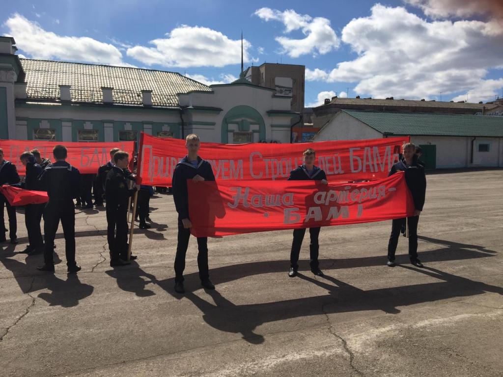 В Усть-Куте состоялась реконструкция прибытия первого поезда на станцию «Лена», посвященная 45-летию начала строительства Байкало-Амурской магистрали (фото, видео)