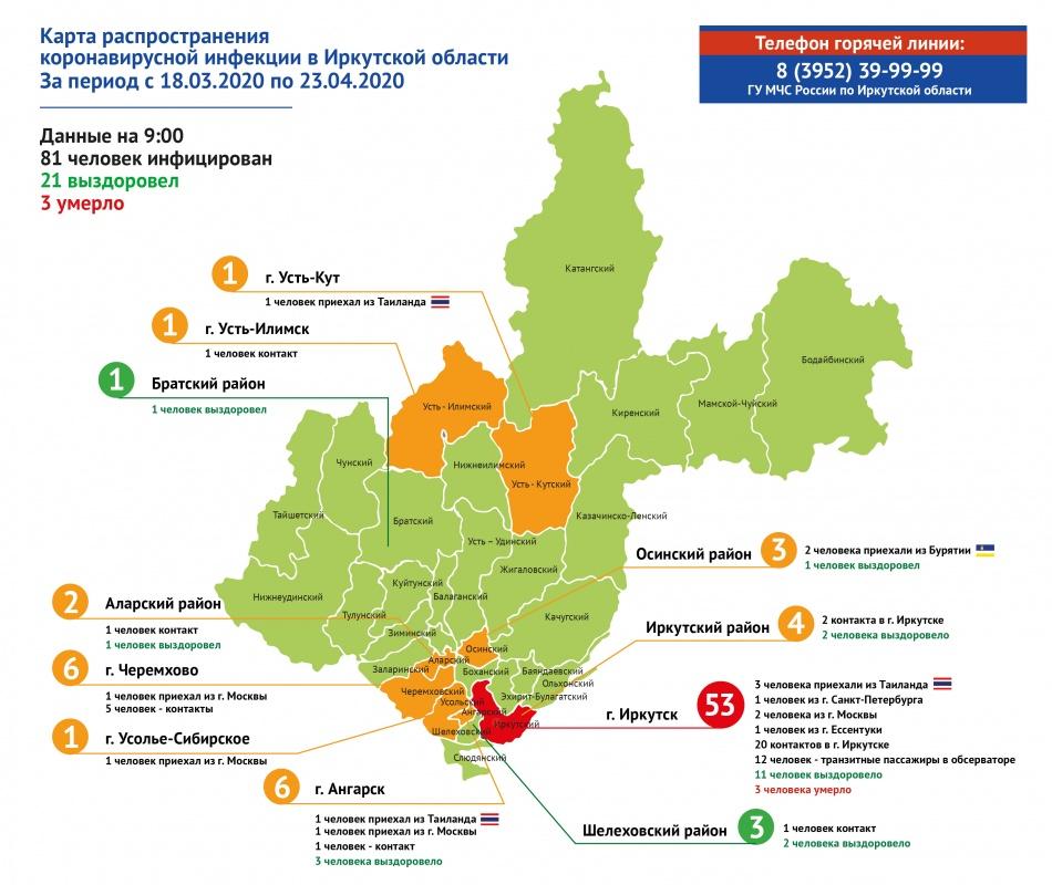 Оперативная информация по коронавирусу в Иркутской области на утро 23 апреля