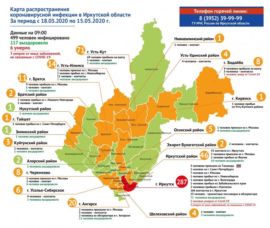 Оперативная информация по коронавирусу в Иркутской области на утро 15 мая