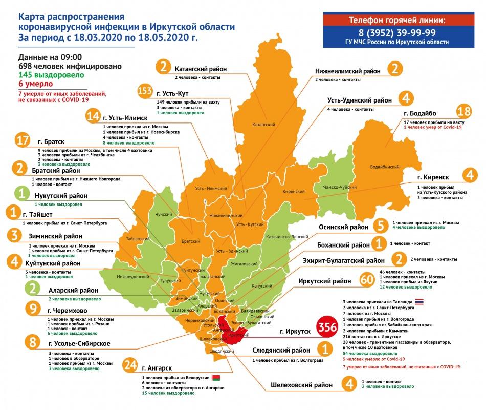 Оперативная информация по коронавирусу в Иркутской области на утро 18 мая