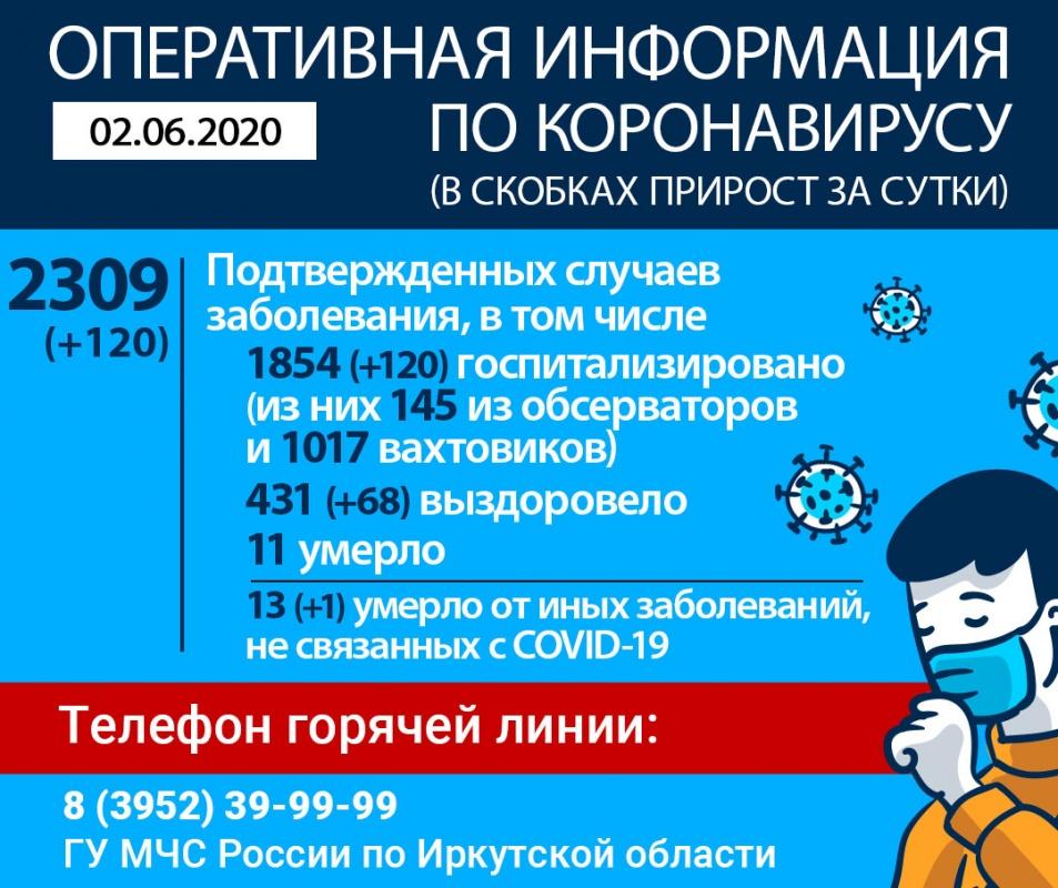 Информация по коронавирусу в Иркутской области на утро 2 июня