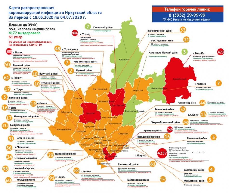 Оперативная информация по коронавирусу в Иркутской области на утро 6 июля