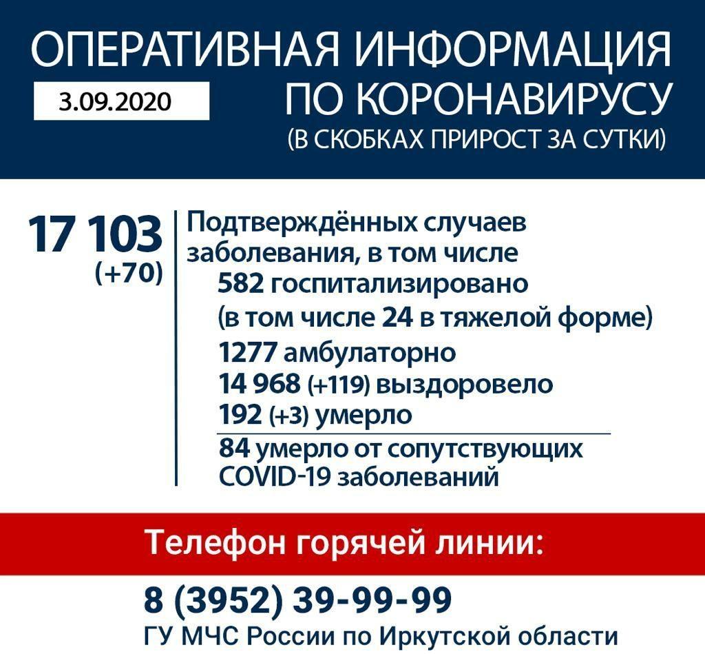 Оперативная информация по коронавирусу в Иркутской области на утро 3 сентября
