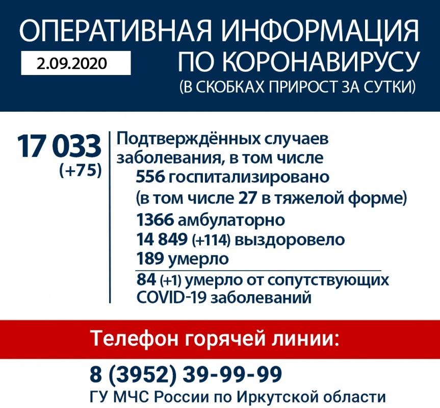 Оперативная информация по коронавирусу в Иркутской области на утро 2 сентября