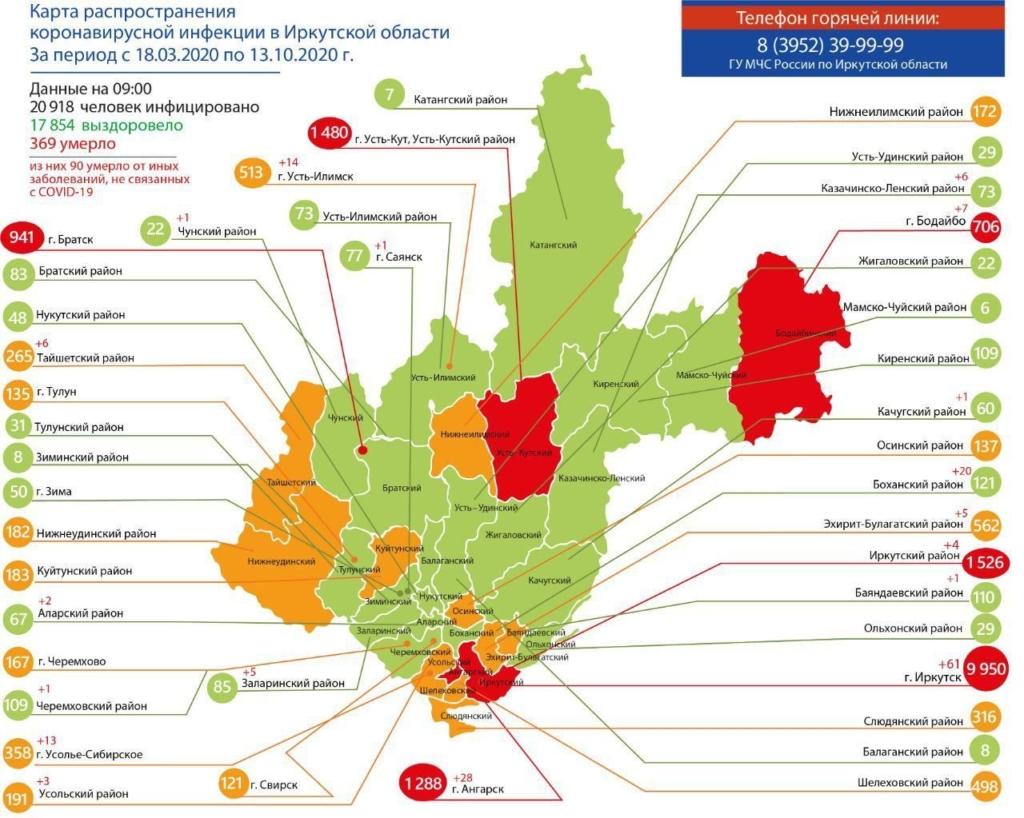 Оперативная информация по коронавирусу в Иркутской области на утро 13 октября (карта)